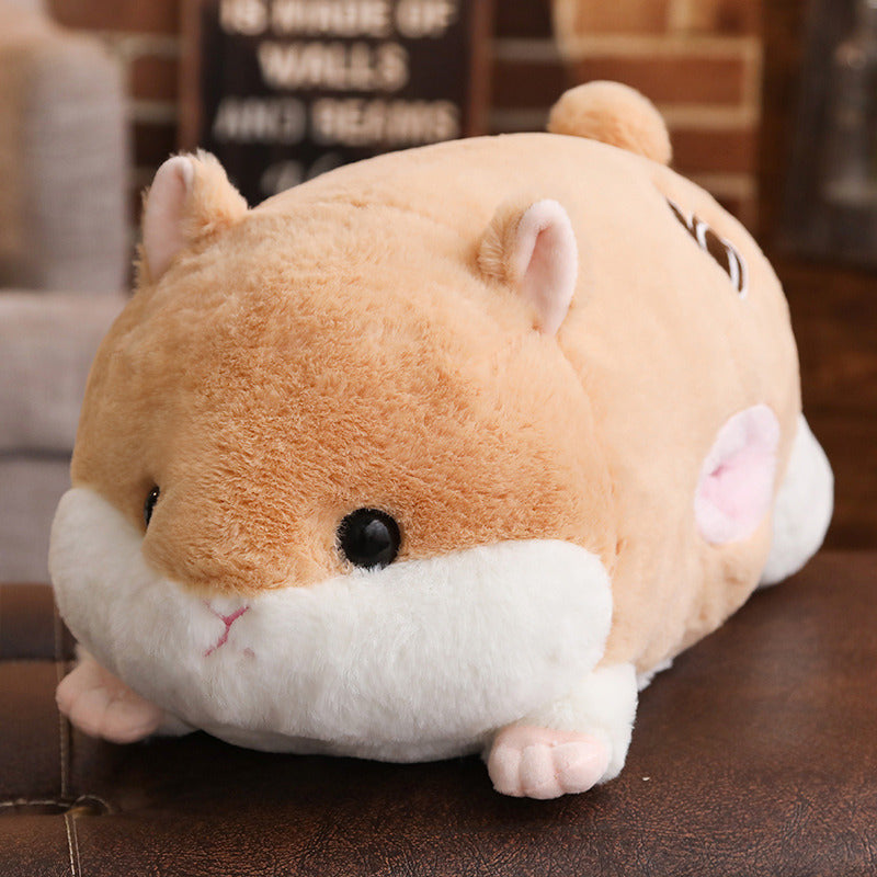Cute Hamster Big Plush Toy Sleeping Hugging Cuddling Body Pillow Stuffed Animal Doll Cot Fluffy Soft Home Decor