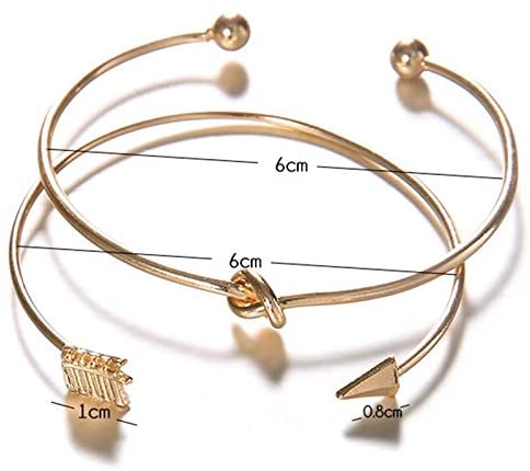 open-arrowed and knotted vintage gold colored two in one pack bracelets for women