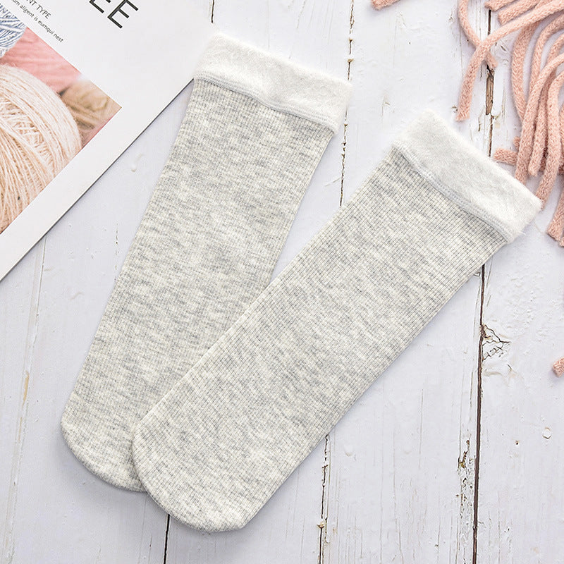 White Grey Women's Fuzzy Soft Fluffy Socks Thick Candy Color Warm Fleece Perfect Winter Gifts Outdoor Socks