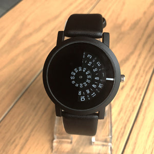 High-quality quartz movement luxury watch with black strap and inside