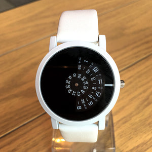 High-quality quartz movement luxury watch with white strap and black inside