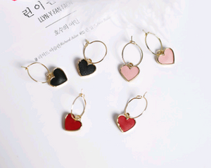 Small Heart Shaped Gold Hoop Pendant Earrings Dangle Drop Jewelry With Color Options Red Pink Black