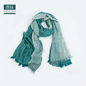 Load image into Gallery viewer, blacklish green lightweight  wrap linen scarf