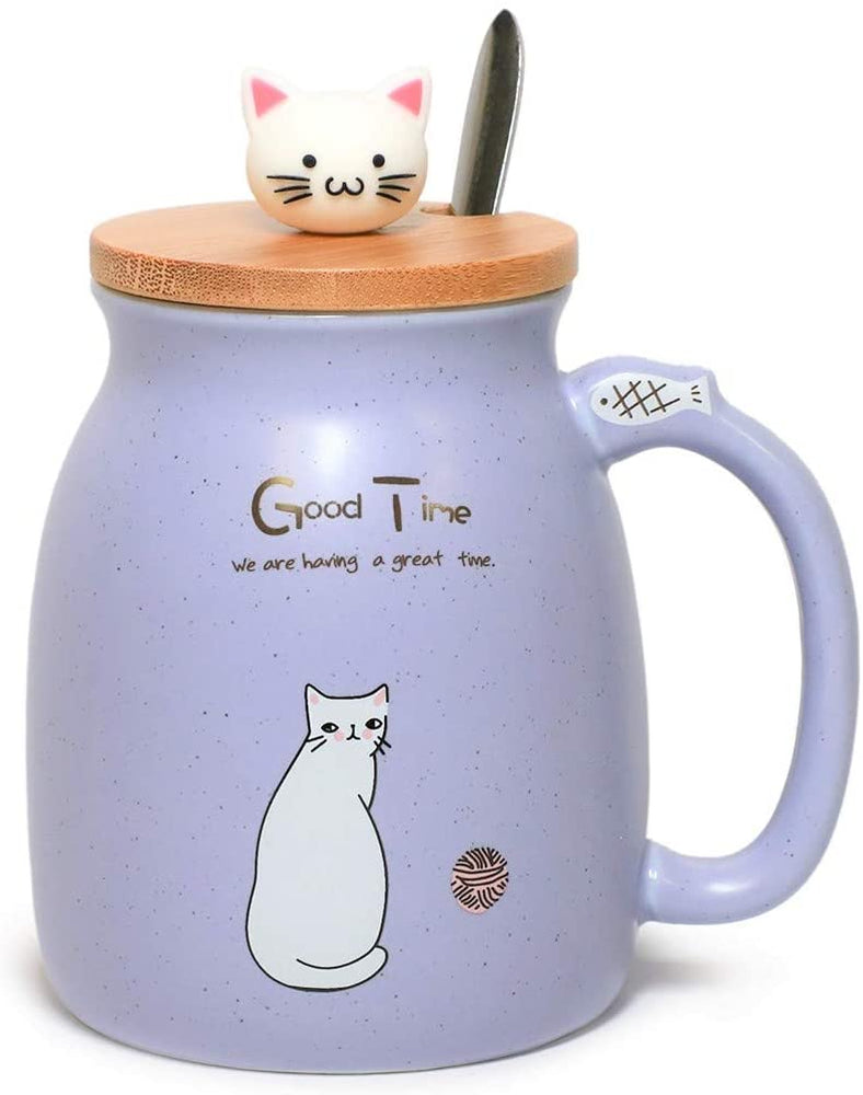 Heat-Resistant Cute Cat Milky Ceramic Mug With Spoon And Wood Lid Design Fine Porcelain Cups Perfect For Coffee, Tea and Beverage For Office Or Home Use