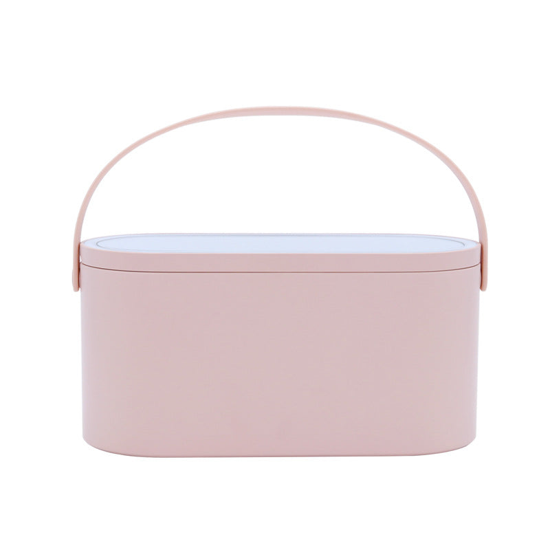 Multifunctional portable makeup cosmetic jewelry organizer storage pink box with led mirror for travel, office, and home use