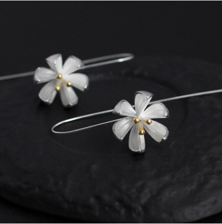 Planting Silver Lotus Flower Earrings