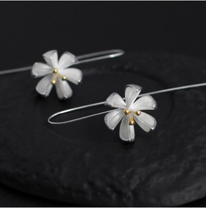Load image into Gallery viewer, Planting Silver Lotus Flower Earrings