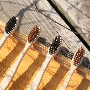 Load image into Gallery viewer, Natural Organic Bamboo Toothbrush Eco-Friendly Wood