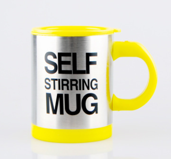 Yellow Lazy Cup Magnetic Stainless Steel Self Stirring Coffee Mug