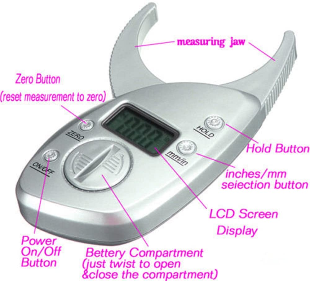 Portable digital body fat caliper measurement tool shows the percentage on a monitor