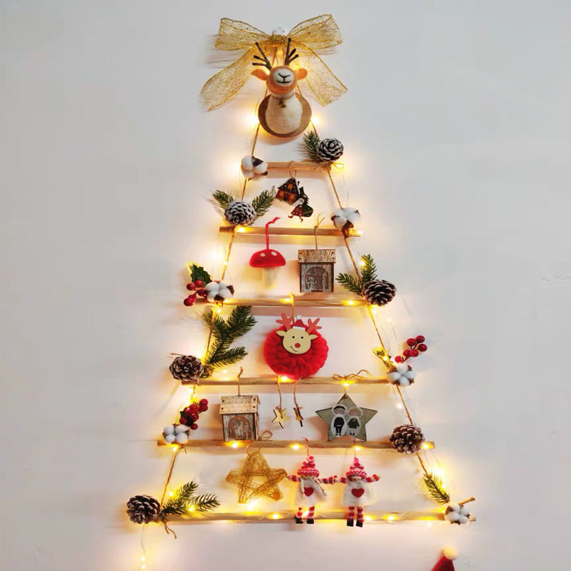 DIY Glowing Christmas Decoration Tree Wooden House Bow Pendant