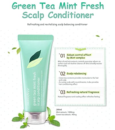 [Innisfree] Green Tea Mint Fresh Scalp Conditioner 200ml Deep Cleansing Silicone-Free