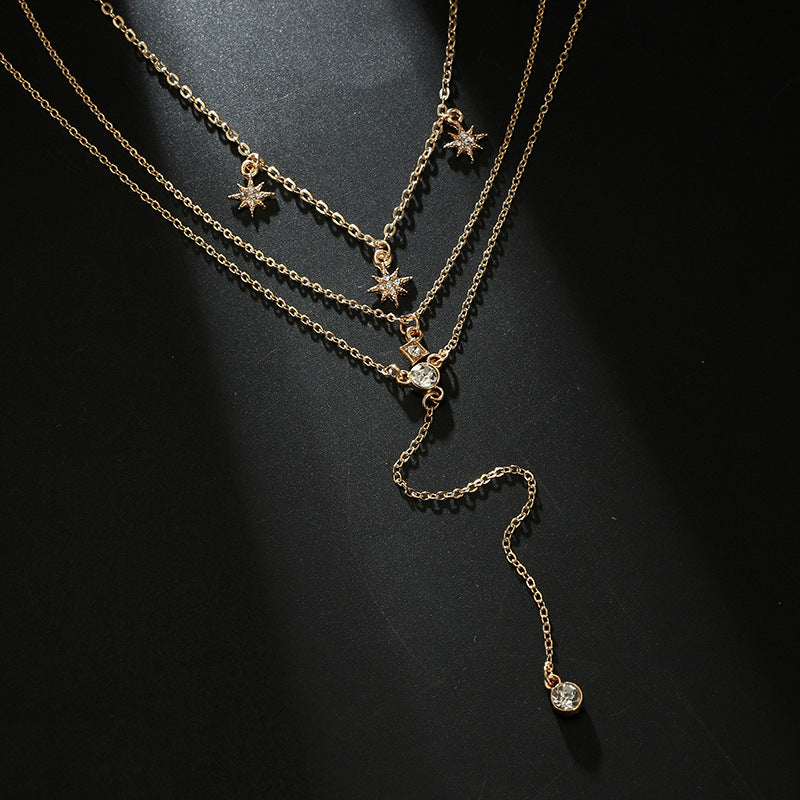 Multi-layer Necklace Adjustable Star Diamond Chain Simple Dainty Delicate Fashion Jewelry Gold E-Girl Choker