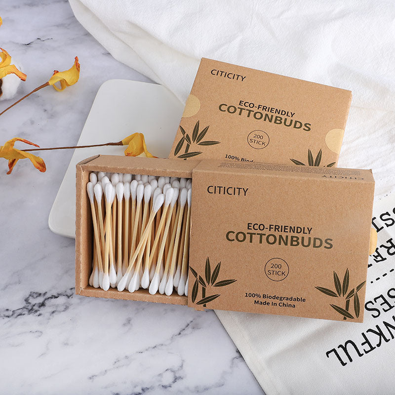 Bamboo Cotton Swabs In Carton Box 200 Pcs Eco Friendly Compostable Wooden Ear Sticks Biodegradable Double Round Q-Tips