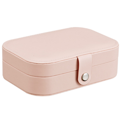 Multi-Function Jewelry Storage Box With Divided Compartment Mini Portable Display Chic Pink Case For Rings Earrings & Necklaces