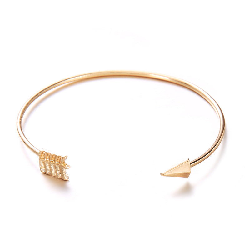 open-arrowed vintage gold colored bracelet for women