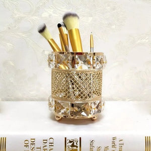 Makeup brushes in retro style vintage round shape makeup brush holder gold glass storage tube for bathroom vanity countertops or cabinet stores cosmetic tool organizer