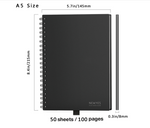 Reusable smart notebook erasable wire-bound planner sketch pads 50 sheets notebook in A5 size its measurements are 5.7*8.4
