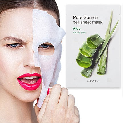 Load image into Gallery viewer, [Missha] Pure Source Cell Sheet Mask Aloe 100% Pure Cotton Skin-Friendly