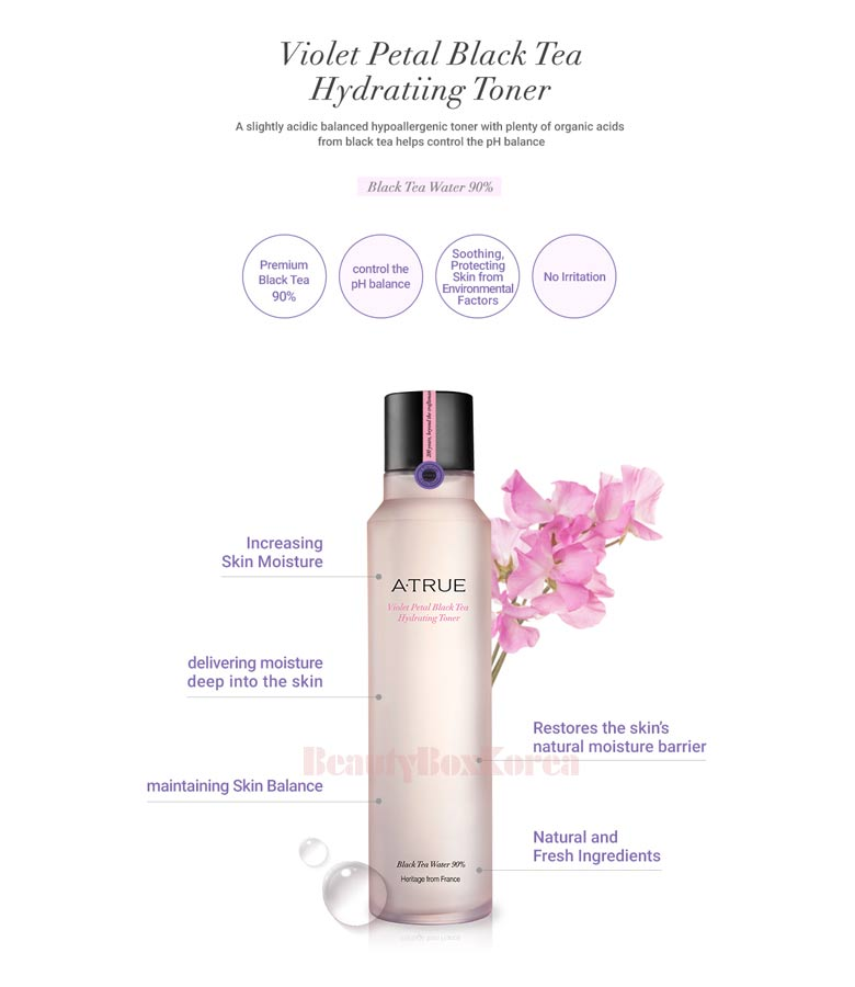 Load image into Gallery viewer, A'True Violet Petal Black Tea Hydrating Toner 180ml Hydrating Facial Toner, Alcohol Free Skin Care