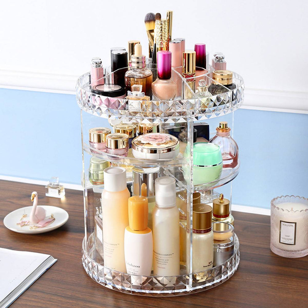 Acrylic Makeup Cosmetic Rack Holder 360 Degree Rotating Makeup Storage Box Shelf 6 Layers Adjustable Jewelry Organizer Case