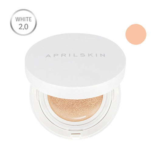 AprilSkin Magic Snow Cushion White 2.0 #22 (Pink Beige) Instantly Flawless & Glowing Skin, Toxin Free
