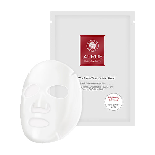 A'True Real Black Tea True Active Mask 25g x 4 Sheet Hydrating, Brightening & Pore Care, Fragrance Free, Parabens Free