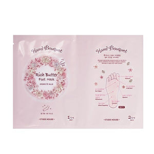 [Etude house] Hand Bouquet Rich butter Foot Mask for Dry Cracked Feet, Dry Feet Treatment, Cracked Feet Treatment, Moisturizing Foot Mask AHA BHA Peppermint Extract