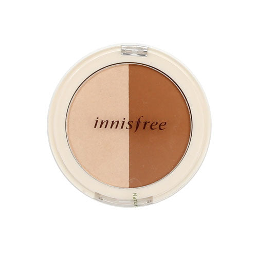 [innisfree] Face Designing Duo Cosmetics Contouring Blush & Bronzing Powder, Two Matte Shades Perfectly Contour Skin, Fiji