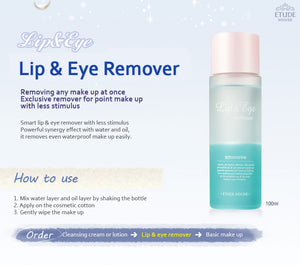 [Etude house] Lip & Eye Makeup Remover 100ml Gentle Makeup Deep Cleansing | Dual-Phased Formula With Water and Oil | Sensitive Skin Care