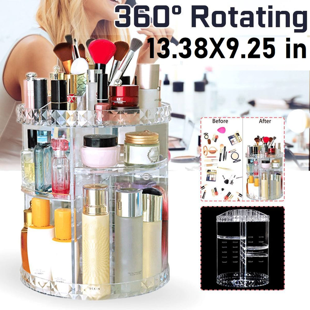 Acrylic 360 Rotating Makeup Organizer Storage Box Adjustable Layers Cosmetic Brushes Lipstick Holder Makeup Jewelry Container Stand Rack Holder Case