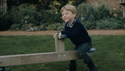 Prince Louis Plays on the TP Toys Forest Seesaw