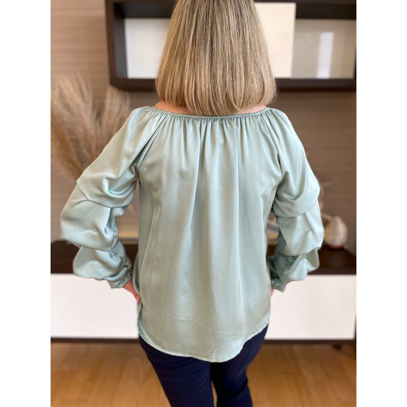 Melanie Ruffle Sleeve Silk Top - Mint
