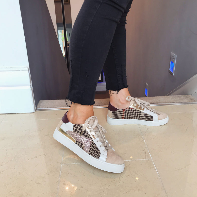 Moow Hounds Tooth & Glitter Trainers