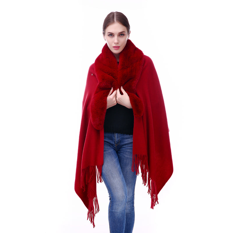 Faux Fur Shawl - Burgundy