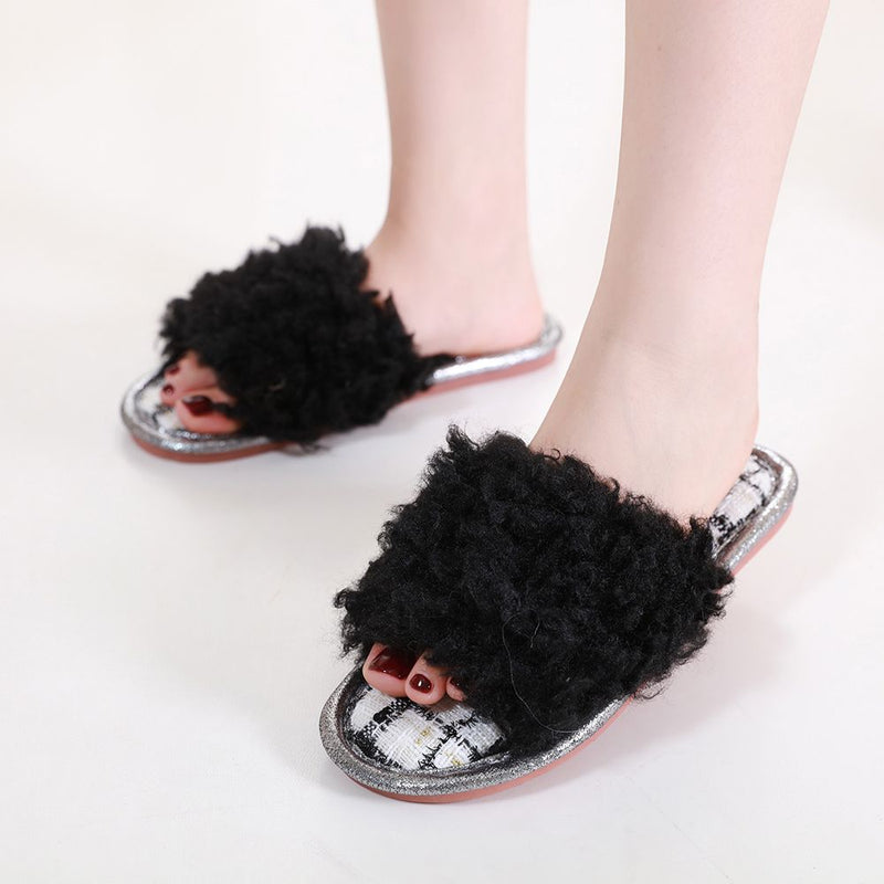 Fluffy Tweed Slippers