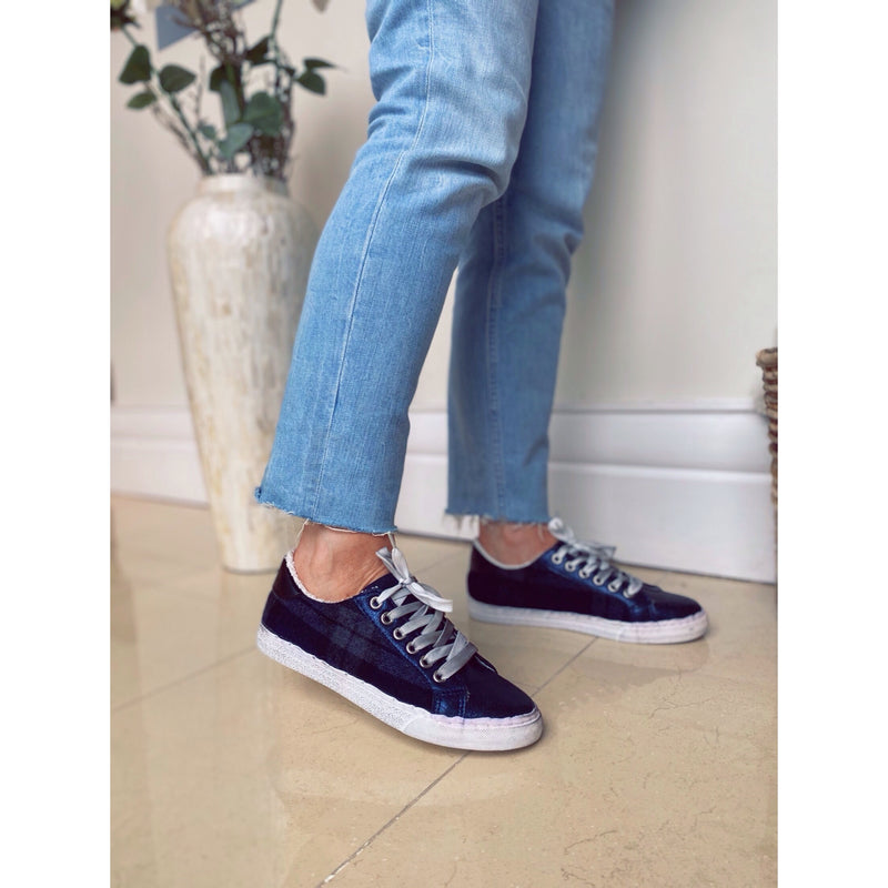 Ideal Tartan Distressed Trainers - Navy