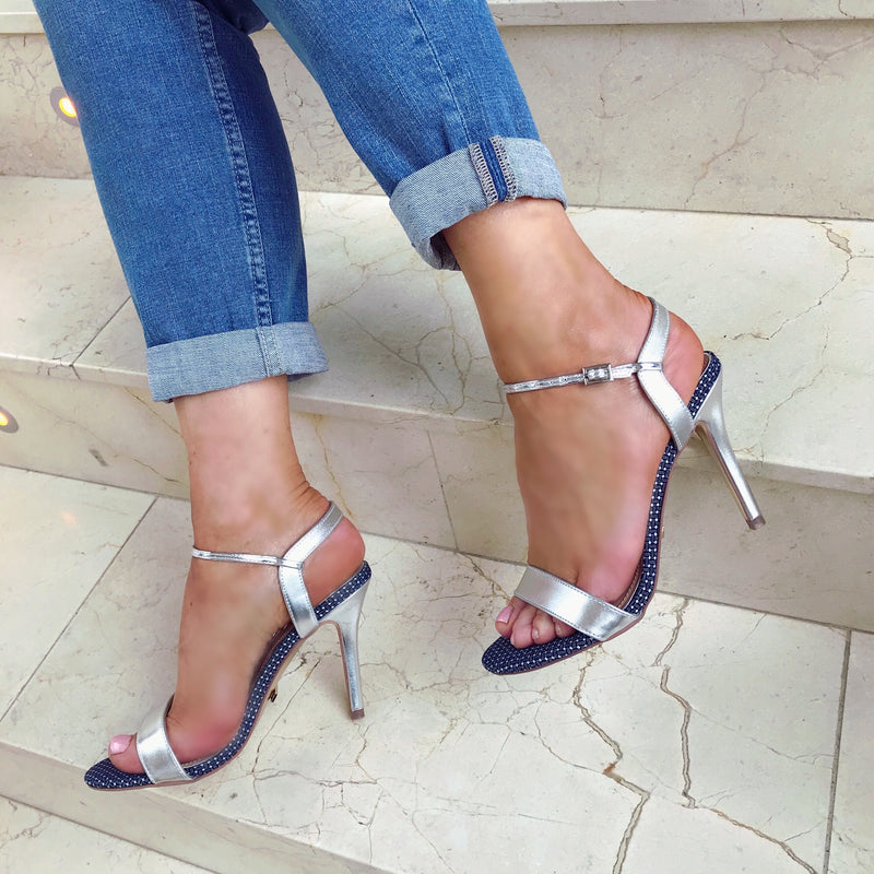 Glamour 'Blossom' Barely There Sandals - Silver
