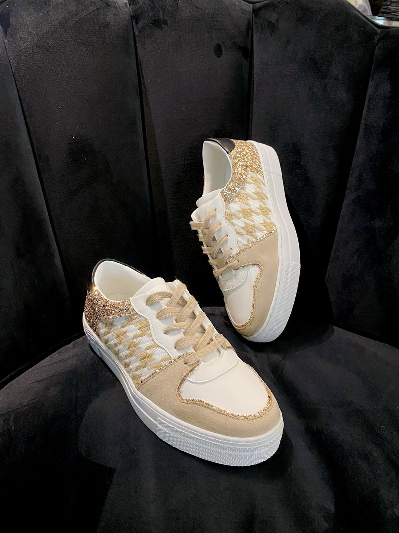 Findlay Hounds Tooth & Glitter Trainers - Latte