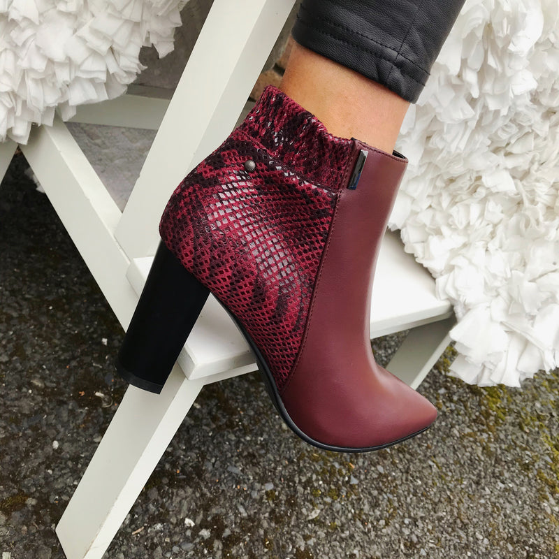 Zanni & Co Snake Boots - Burgundy
