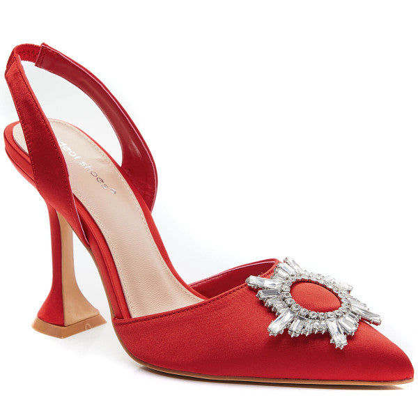 Ideal Satin Embellished Sling Backs - Ruby