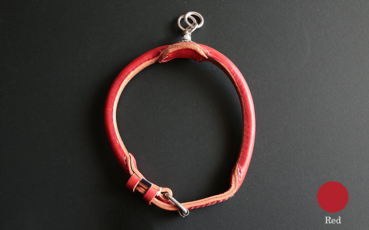 Goto-tomorrow Dog Tochikan Round Leather Collar Red S