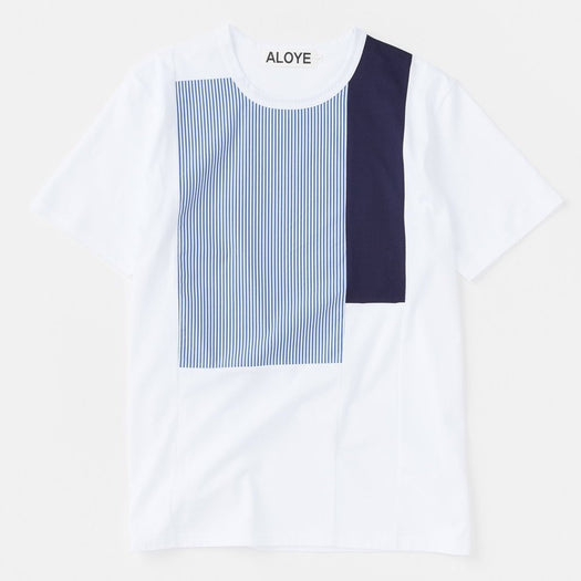 Aloye - Shirt Fabric T-shirt white / navy stripe