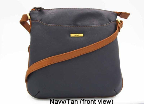 Nova Leathers Navy/Tan Cross Body Bag