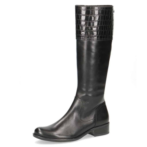 Caprice Black Croc Top Long Boot