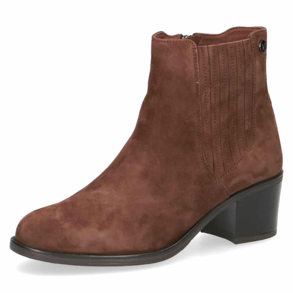 Caprice Brown Suede Mid Heel Ankle Boot