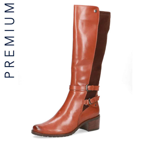 Caprice Tan/Brown Twin Buckle Long Boot