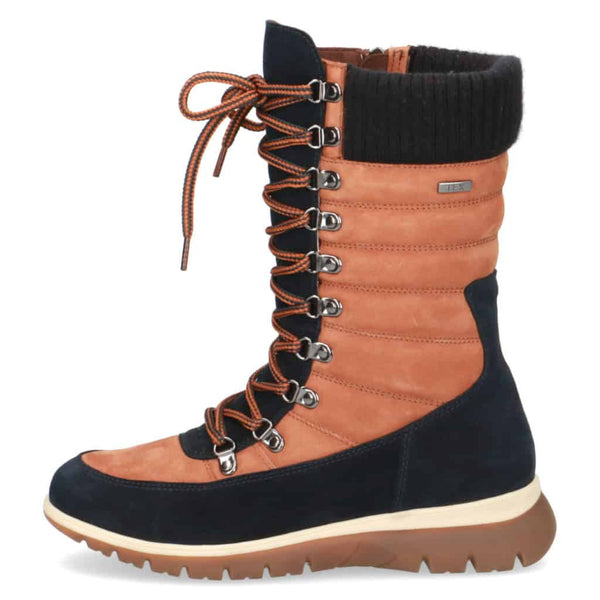 Caprice Tan/Navy Suede 'Tex' Lace-Up Boot