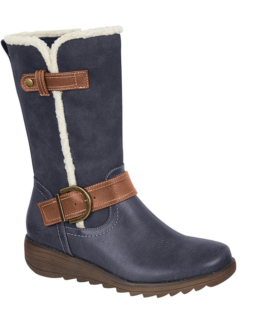 Cipriata Vegan Navy/Tan Mid Calf Boot