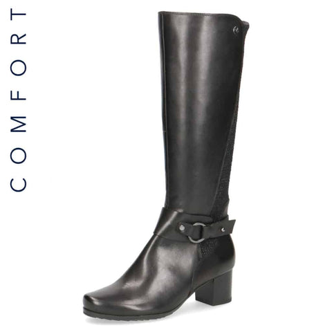Caprice Black Wide Fit Calf Long Boot